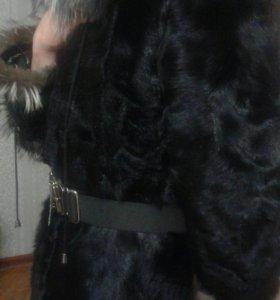 Шубка из натурального меха козлика с каракулем