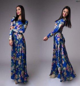 Атласное шикарное платье в пол!!