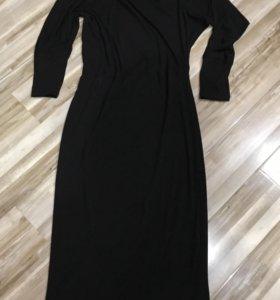 Чёрное трикотажное макси платье в пол