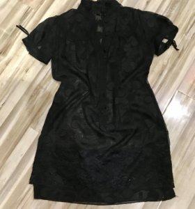 Anna Sui прозрачная кружевная туника-рубашка