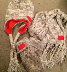 ‼️Зимний шарф и шапка + варежки в подарок‼️ADIDAS