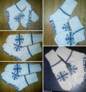 Носки из шерсти , вышивка
