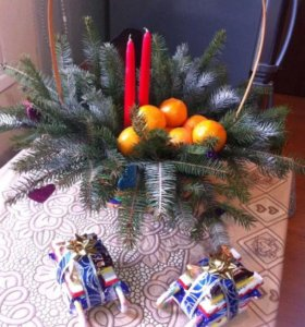 Новогоднии композиции из живой елки