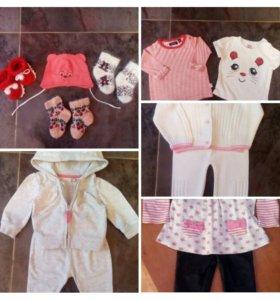 Одежда для девочки пакетом р68(3-6мес)
