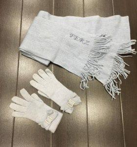 Тёплые перчатки и шарф в комплекте