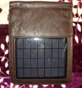 Сумка кожаная с солнечной батареей новая