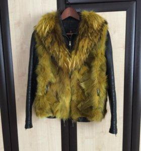 Продаётся кожаная куртка и меховая жилетка