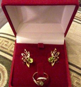 Золотые кольцо и серьги с бриллиантами