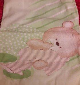 Новое постельное белье + бортики в кроватку +