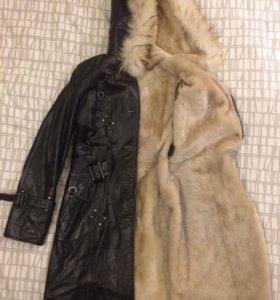 Пальто кожаное на меху-дубленка
