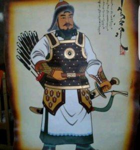 Чингизхан картина на коже