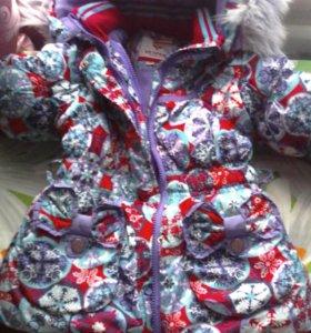 Теплая зимняя куртка с комбинезоном