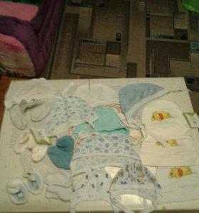 Шапочки,пинетки,носочки от 0 месяцев