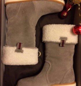 Новые женские зимние сапоги на овчине Gucci