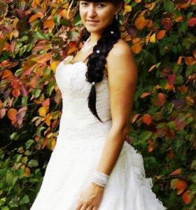 Свадебное платье А-силуэта + аксессуары в подарок