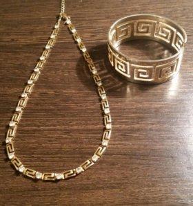 Бижутерия: колье и браслет в греческом стиле