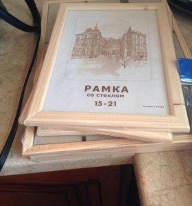 Деревянная рамка со стеклом