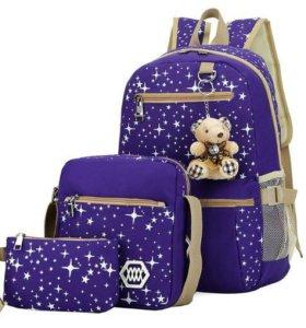 Рюкзак, сумочка и косметичка с мишкой, фиолетовый