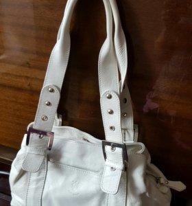 Кожаная сумка белая новая!