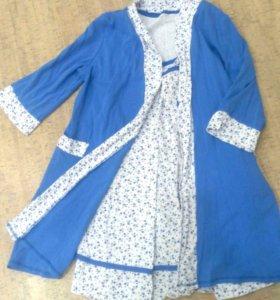 Комплект ночнушка + халат для беременных и кормящи