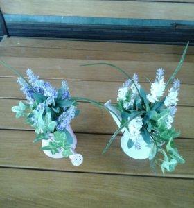 Цветы в лейках