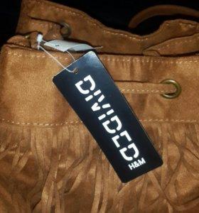 Новая замшевая рыжая сумочка с бахромой
