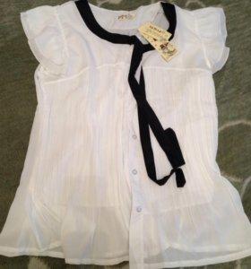 Белая классическая блузка 46-48 размер
