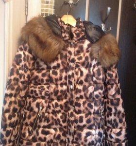 Куртка зима новая леопард.