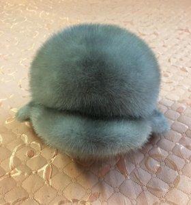 Шапка норковая серо-голубая и шарф шелковый с норк