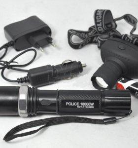Аккумуляторный фонарь 8206 (ручной+ налобный)