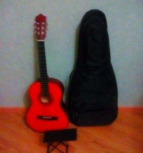 Гитара+чехол+подставка для ноги