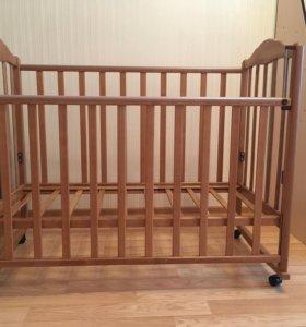 Кроватка маятник с матрасом( бамбук)