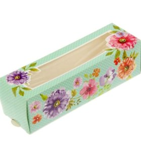 Коробка для макарун цветы