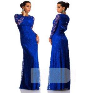 Платье кружевное синее в пол