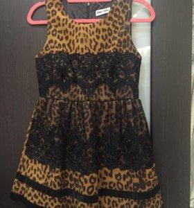 Платье леопардовое с кружевом