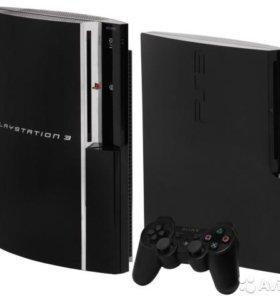 Sony Playstation 3 (40 Гб) + три джойстика + 7 игр