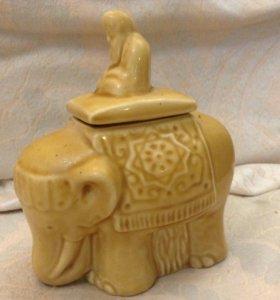 емкость для чая  йог на желтом слоне