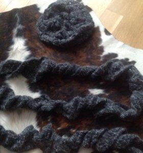 Берет и шарф ручная вязка шерсть