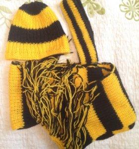 Зимний комплект шарф-шапка-повязка