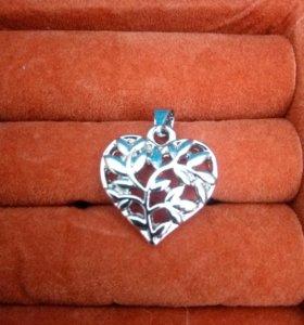 Серебряная подвеска сердце санлайт