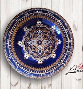 Декоративная тарелка, роспись по стеклу и керамике