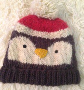 Шапка пингвин теплая