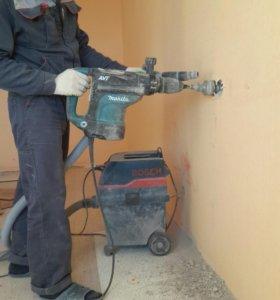 Штробление стен, сверление подрозетников