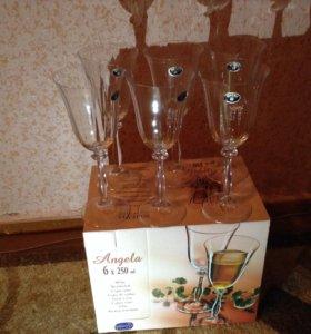 Бокалы для вина,185 мл.из  богемского стекла