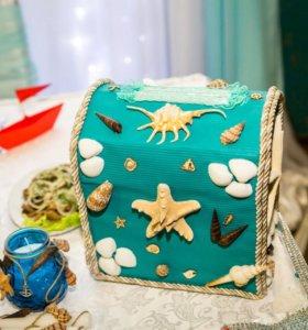 Свадебный сундук для денег, на морскую тематику.