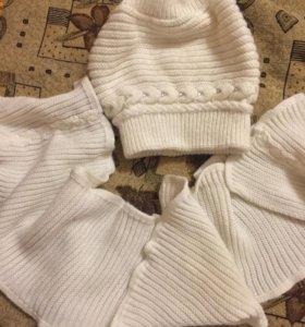 Комплект шапка и шарф белые