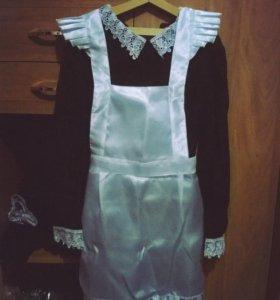 Школьная форма (платье + фартук)