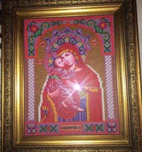 Икона ручной работы, расшитая чешским бисером