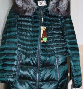 Новая куртка пух-перо мех чернобурка