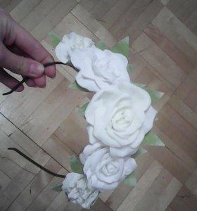 Ободок ручной работы,розы из фомирана